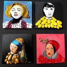 Taşlar ve ünlü kadınlar... #tasarımolcayca #taşlar #inciküpelikadın #kırmızıkürklümadonna #audreyhepburn #marilynmonroe #duvarlarboşkalmasın