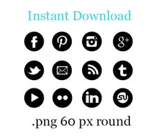 Gloss Black  Round Social Media Icon set of 12 by ThemeMaiden, $4.50