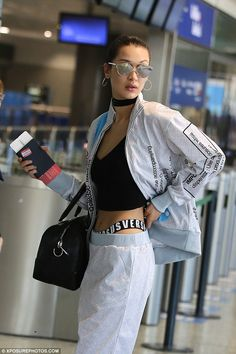 Try the athleisure trend with Bella's Moschino jacket #DailyMail