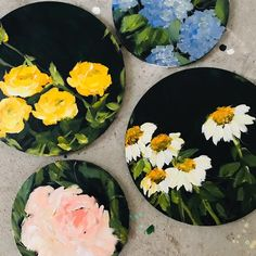 set of 4 circular canvas (florals) – Melissa Lyons Art Record Wall Art, Cd Wall Art, Small Canvas Art, Mini Canvas Art, Aesthetic Painting, Aesthetic Art, Art Cd, Art Mini Toile, Circle Canvas