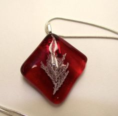 Handmade Red Fused Glass Fossil Glass by TheJeremiahTreeGlass, $25.00