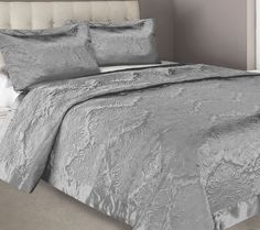 The Gallerie - Bambury Damask Silver Faux Silk Coverlet Set - https://www.thegallerie.com.au/product/bambury-damask-silver-faux-silk-coverlet-set
