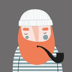 Simple Illustration, Portrait Illustration, Hipster Living Rooms, Mermaid Man, Vintage Travel Posters, Felt Art, Grafik Design, Clipart, Art Tutorials