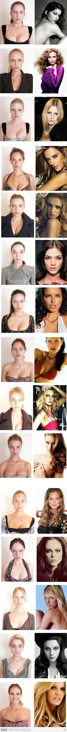 This makes me feel better...take off the make up and bronzer, do away with the styled hair and flattering lighting, nix the magical photographer...and they don't look so far from real women themselves!