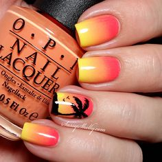 Tropical Sunset gradient with a palm tree silhouette, nail art by Sassy Shellly