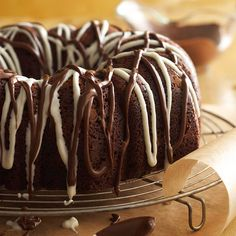 Triple-Chocolate Mocha Cake - I'll take several pieces please. More fall baking recipes: http://www.bhg.com/recipes/desserts/other-desserts/fall-baking-easy-recipes-sensational-results/