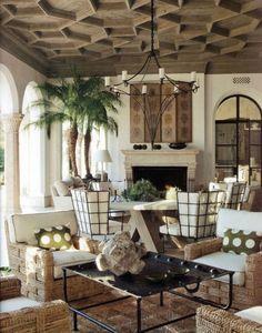 Ceilings: A stunning ceiling in a veranda designed by Richard Hallberg.