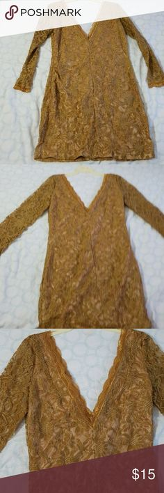 Good Dress Beautiful night Gold Dress For special occasions. Used twice. Size small. Express Dresses Long Sleeve