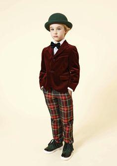 Foppish velvet and plaid for boyswear from Mimisol for Italian kids fashion trends fall 2014
