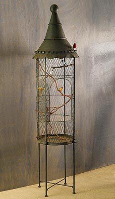 Standing Antiqued Bird Cage