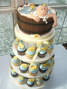 Baby_shower_cupcake_cake, food, cupcakes, baby shower, dessert, baby boy in water bathingbucket, cupcakes, duck cupcakes, blue frosting
