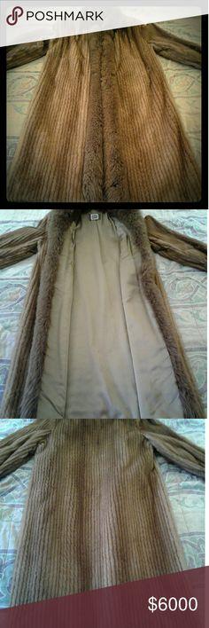 Genuine mahogany ribbed mink floor length fur coat SAGA mink  Fur coat. Olive green satin interior lining. Saga Furs Jackets & Coats Trench Coats