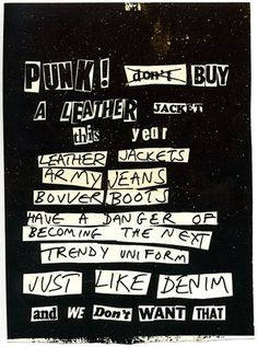 Carteldepunk9 punk typography and rock poster by jamie reid questioning the marketing of a punk uniform reid j dont buy a leather jacket fandeluxe Epub