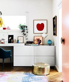 Workspace from artist and designer Rachel Castle's colourful & quirky Sydney home. Photography: Sharyn Cairns | Styling: Tahnee Carroll