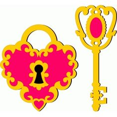 Silhouette Design Store: heart lock and key