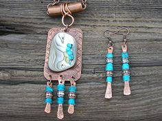 Rustic Copper Abalone Pendant Matching Earrings  by RusticSpoonful