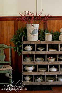 A collection of ironstone displayed in rustic cubbies - Rusty Hinge: 2014 Holiday Housewalk~Decking These New Halls!