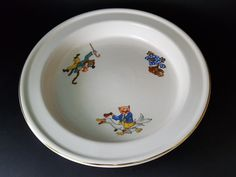 """Rare Children's Deep Plate/Bowl Syracuse China """"Rocky"""" Pattern by PreteritHome on Etsy"""