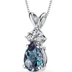 14k White Gold Pear Shape Alexandrite and Diamond Pendant