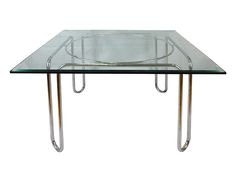 vintage chrome glass dining table