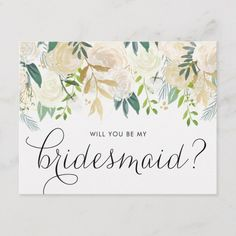 Shop Watercolor Pale Peonies Will You Be My Flower Girl Invitation Postcard created by misstallulah. Personalize it with photos & text or purchase as is! Be My Bridesmaid Cards, Will You Be My Bridesmaid, Bridesmaid Proposal, Bridesmaid Gifts, Will You Be My Maid Of Honor, Bridesmaid Bouquet, Wedding Bridesmaids, Bridesmaid Dresses, Flower Girl Invitation
