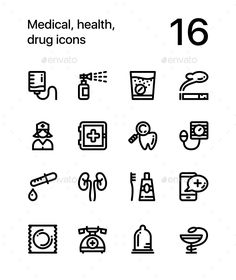 Medical, Health, Drug Icons for Web and Mobile Design Pack 3