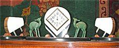 Beautiful 3 Pc Art Deco Marble Clock Set