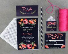 Printable Wedding Invitation Suite Set - Custom pdf- Black & Wild Flowers