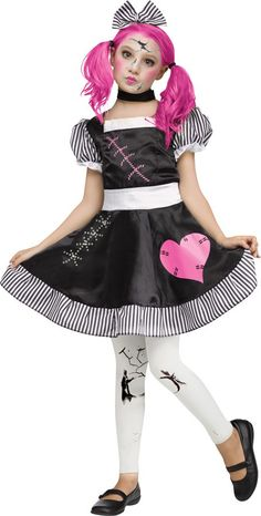 A damaged dolly comes to life with a childlike innocence in this sweet girls' Halloween costume. Our Broken Doll Halloween costume for girls is a fun and . Broken Doll Halloween Costume, Creepy Doll Costume, Scary Costumes, Halloween Costumes For Teens, Retro Costume, Costume Dress, Girl Costumes, Halloween Kids, Halloween Party