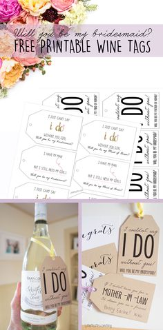 Will you be my bridesmaid-free printable wine tags