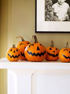 Halloween Mantel with Pumpkin Jack Lanterns