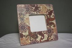 Purple and cream paisley wood picture frame by TipToeDesign, $10.00
