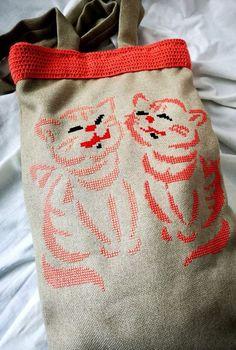 TRAISTA URBANA - Doua Pisici Burlap, Reusable Tote Bags, Hessian Fabric, Jute, Canvas
