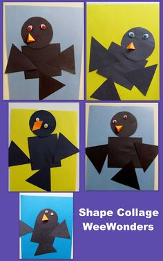Shape collage: black birds - time to head south Fall Preschool Activities, Preschool Crafts, Preschool Shapes, Fall Art Projects, Arts And Crafts Projects, Shape Collage, Fall Arts And Crafts, Bird Theme, Bird Crafts