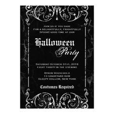 gothic+halloween+party+invitations | Gothic Victorian Spooky Black Halloween Party Invitations - Zazzle.com ...