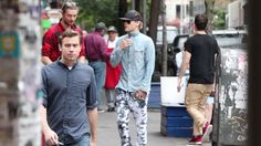 Jared Leto was spotted walking around the Soho district in New York City with his pink hair tucked under a black baseball cap.