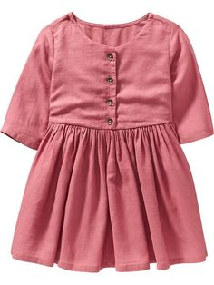 3/4-Sleeve Crepe Dresses for Baby