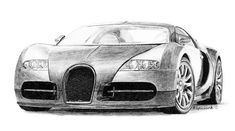 Bugatti Veyron pencil drawing - click on image for prints