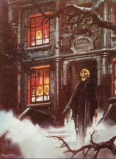 """""""Chateau d'Amour"""". Cover art by Vicente B. Ballestar for German horror mag… Retro Horror, Gothic Horror, Arte Horror, Vintage Horror, Gothic Art, Horror Art, Sci Fi Horror, Horror Films, Halloween Horror"""