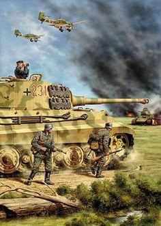 Tigre II (version Henschel) en action au côté de l'infanterie. Probablement durant l'opération Bagration (Septembre '44)