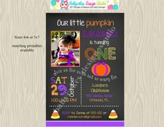1st birthday pumpkin invitationinvitepumpkin by jcbabycakes