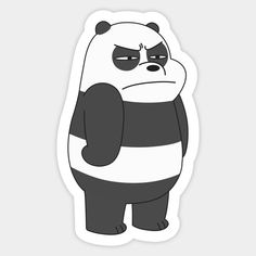 Panda - We Bare Bears Panda - Adesivo Cartoon Stickers, Tumblr Stickers, Cool Stickers, Printable Stickers, Black And White Stickers, We Bare Bears Wallpapers, Homemade Stickers, We Bear, Bear Wallpaper