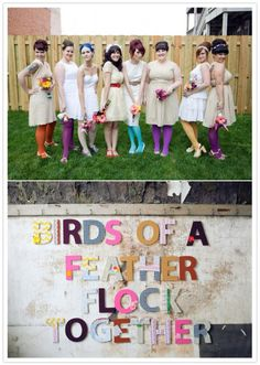 colorful mix and match bridesmaid tights
