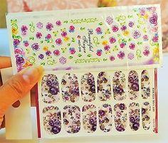 2 Packs Purple Roses water Nail Decals, Floral Nail wraps, Nail Art, Roses Nails