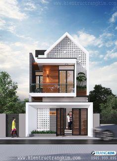 Narrow House Designs, Modern Small House Design, Modern Minimalist House, House Front Design, Minimalis House Design, Small House Exteriors, 2 Storey House Design, Home Building Design, Modern Architecture House