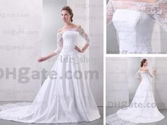 Real Actual Image Wedding Dresses Bateau Lace Satin Chapel Train A-line 3/4 Sleeves Bridal Gowns from Life_shop,$120.42 | DHgate.com