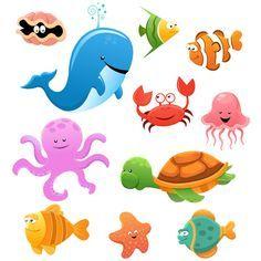 Animales marinos cartoon - Vector. Caricatura. Concha, ballena, pulpo, cangrejo, pez, estrella de mar.