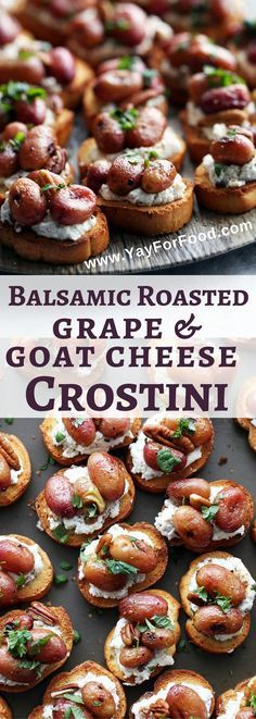 Check out this delicious appetizer featuring balsamic roasted sweet grapes, creamy goat cheese and nutty pecans on a crunchy crostini. It's ready in only 30 minutes! appetizers | snacks | party food | vegetarian