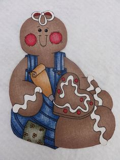 Fabric Iron On Gingerbread Man by Threadbender64 on Etsy, fabric iron