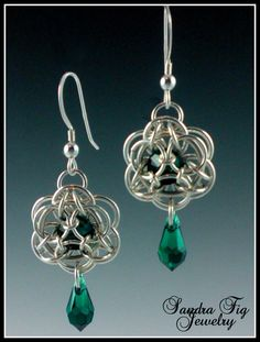 Emerald Green Water Lily Chainmaille Earrings by SandraFigJewelry, $82.00